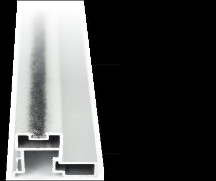 Bauteil: Schiebetür Dämpfung in Form einer Bürste, die in das Alu Griffprofil eingeschoben wird