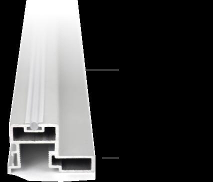 Bauteil: Schiebetür Dämpfung in Form eines Gummis, die in das Alu Griffprofil eingeschoben wird