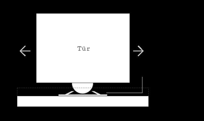 Bauteil: Positionsstopper Skizze Querschnitt für Schiebetüren in der Schiene