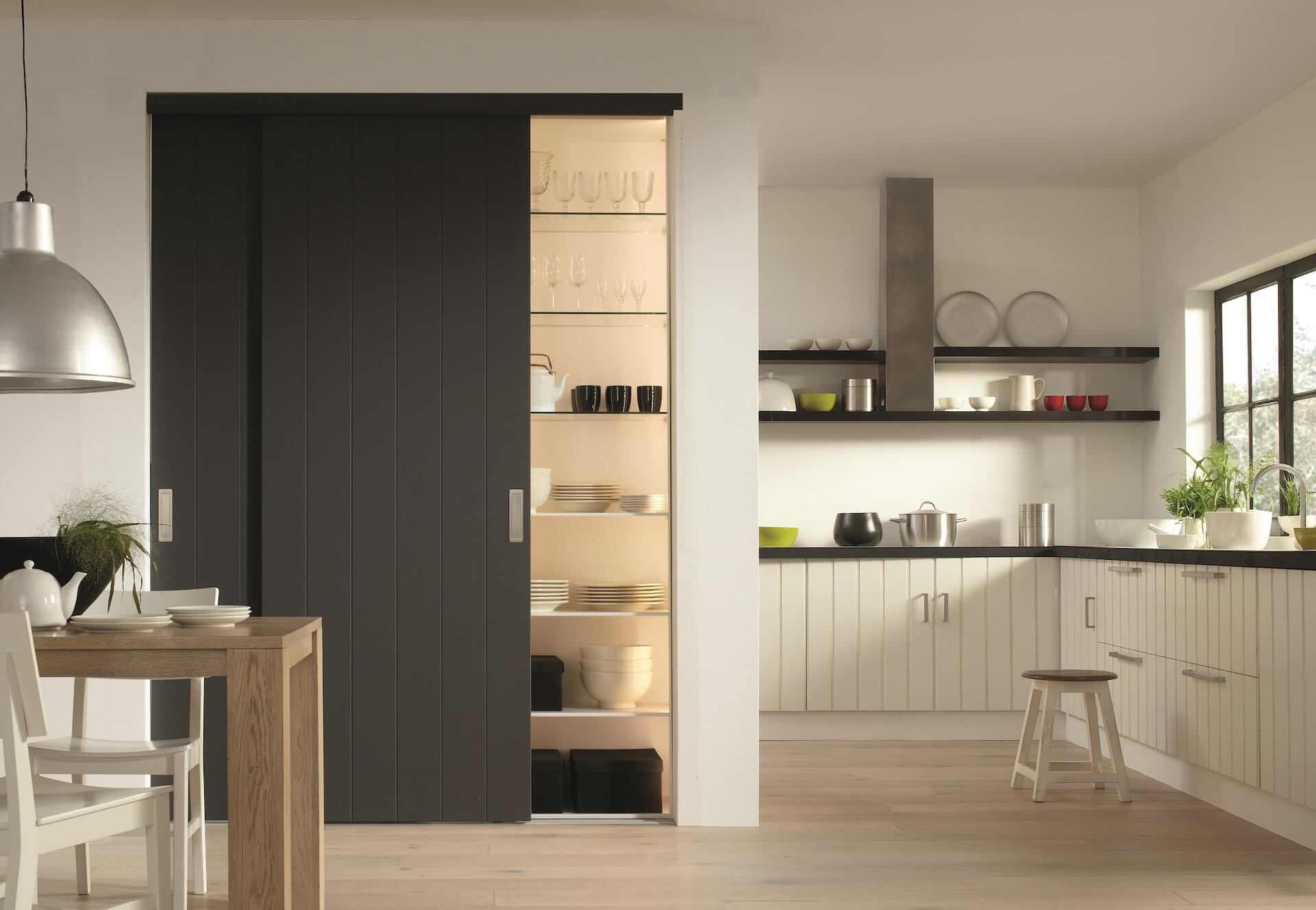 Rahmenlose Holzschiebetür Stiltür Schiebetür auf Maß in Anthrazit