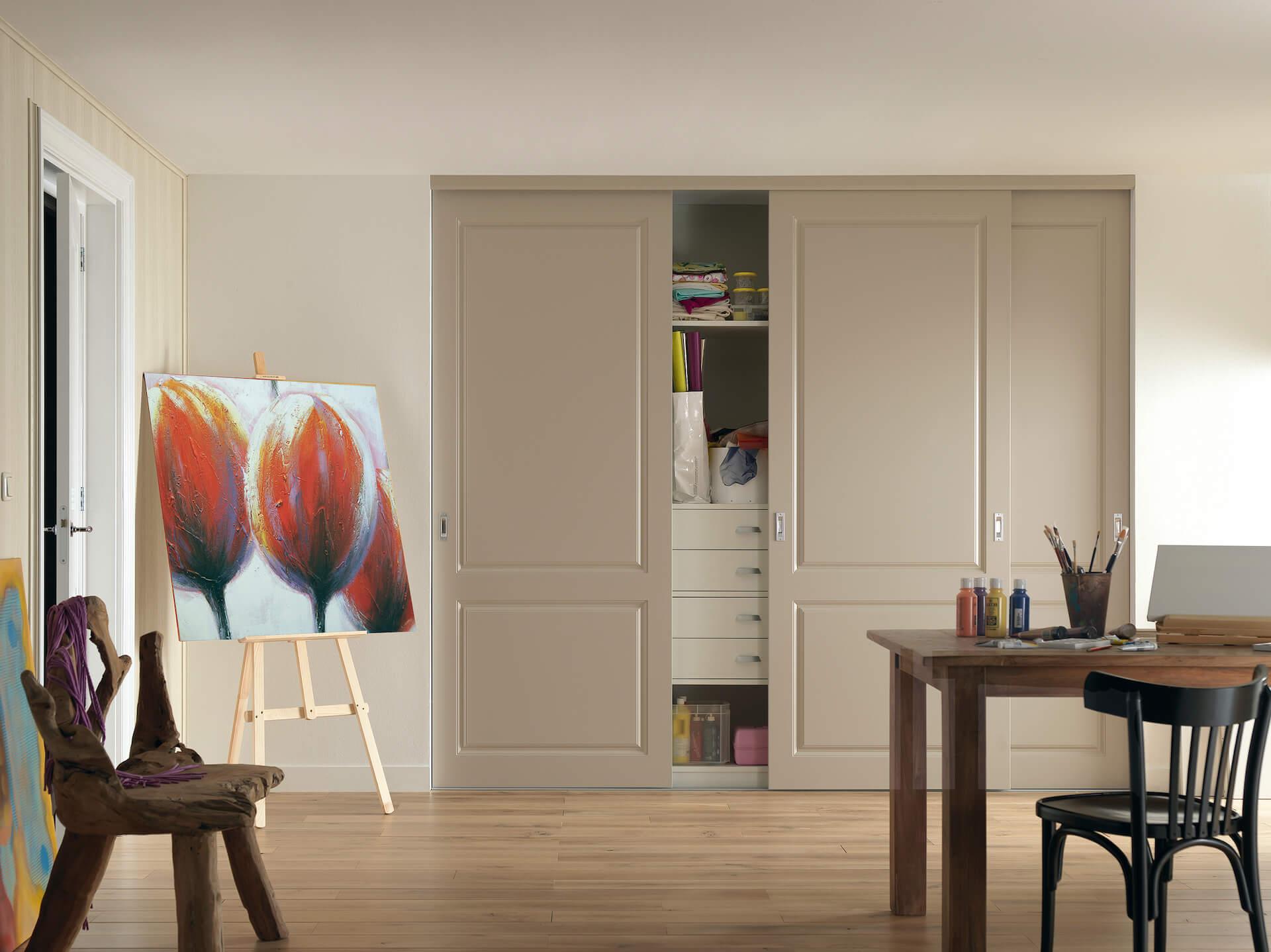Rahmenlose Holzschiebetür Stiltür Schiebetür auf Maß in Lichtgrau