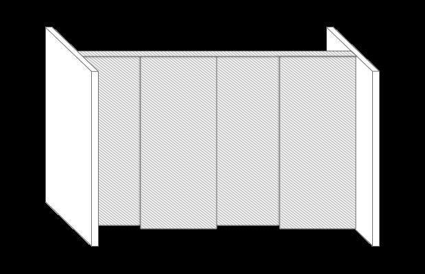 Raumteiler Schiebetür Skizze