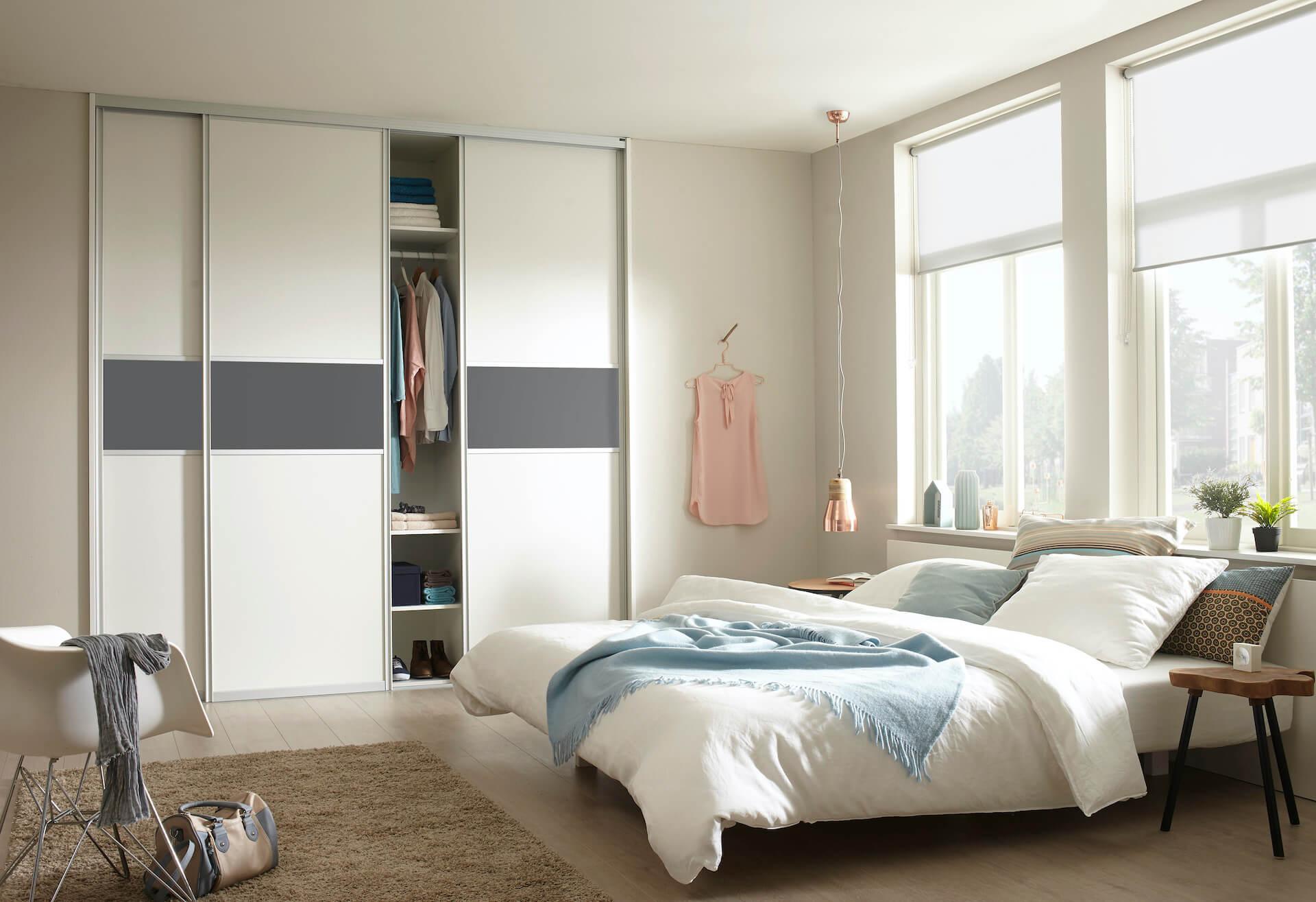 Schrankschiebetür mit Aluminiumrahmen Schlafzimmer Dekor