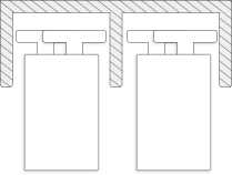 Querschnitt Zeichnung Deckenschiene bei Bodensystem Schiebetüren