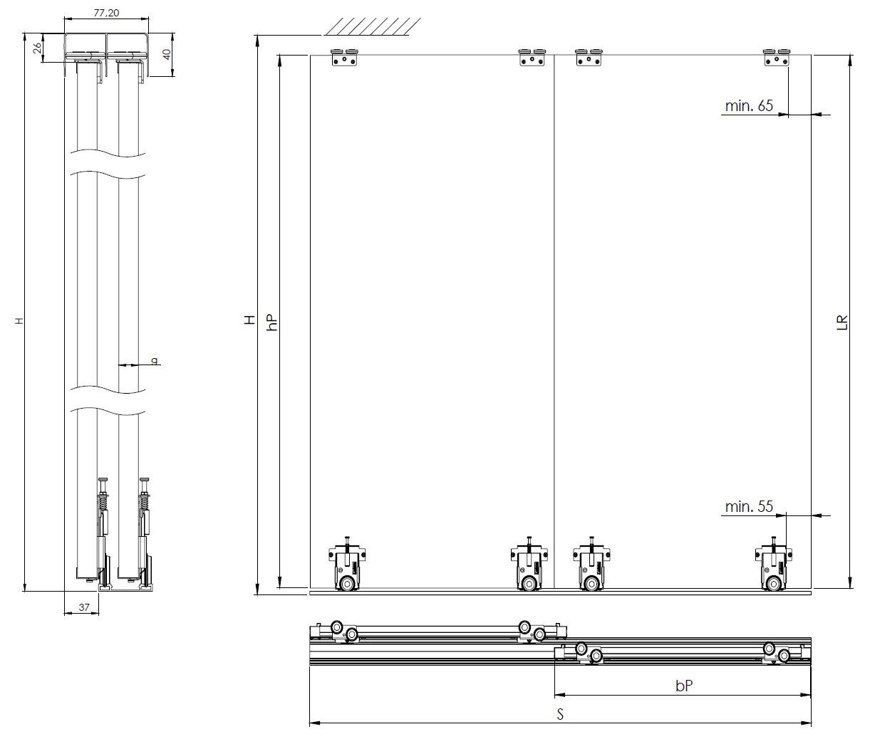 Montageskizze für BS-Komplett U als Drempelset | Weiße Holzschiebetüren mit U-Profilen unter Dachschrägen
