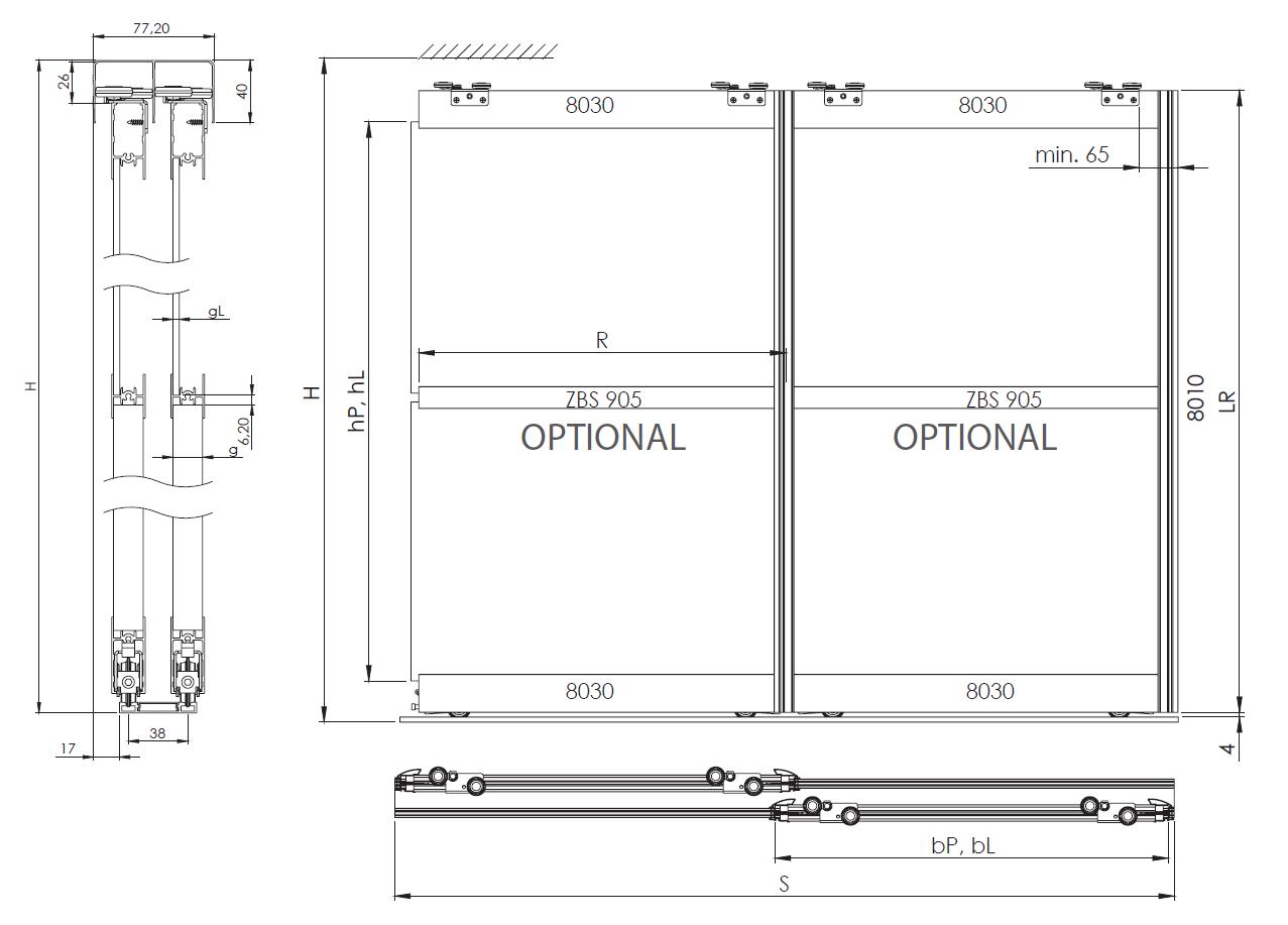 Montageskizze für BS-Komfort mit Rahmentyp C 2000 mm weiß|Alu-Schiebetür-Bausatz Bodensystem für Schrank/Nischen-Türen