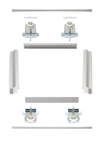 MSB-Komfort mit Rahmentyp D | Aluminium-Schiebetür-Bausatz Bodensystem für Möbeltüren im Korpus