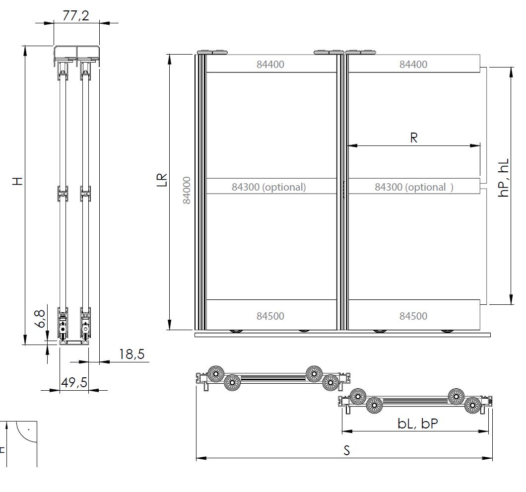 Montageskizze für BS-Komfort mit Rahmentyp B | Aluminium-Schiebetür-Bausatz Bodensystem für Schrank-/Nischen-Türen