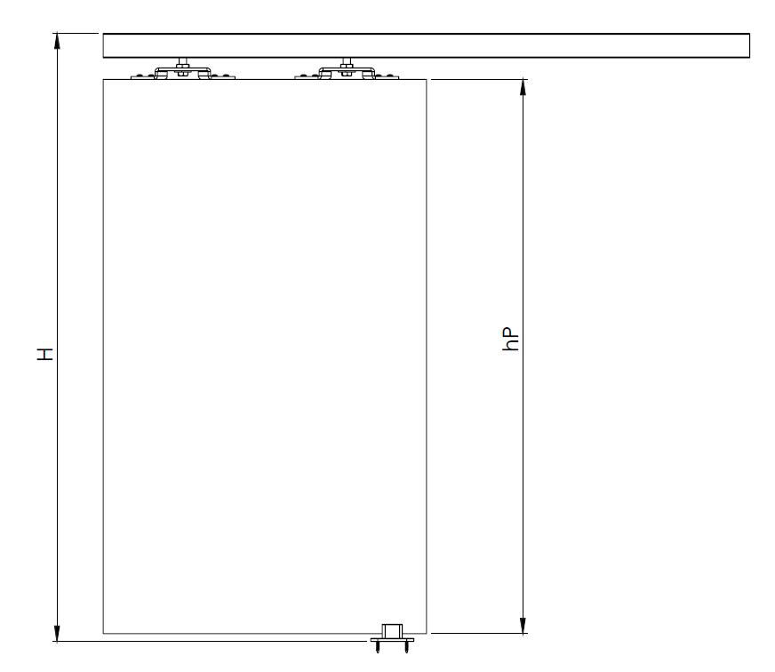 Montageskizze für HS-Standard | Schiebetür-Bausatz Hängesystem für Durchgangs-Türen
