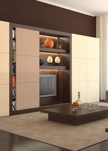 Möbelschiebetür Holzschiebetür im Wohnzimmer korpusgebunden