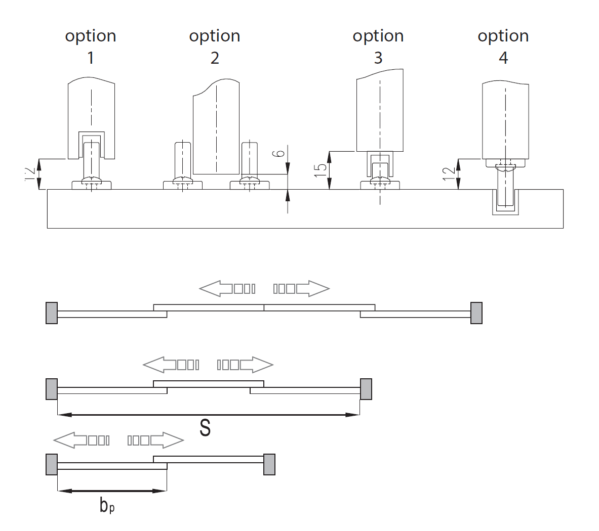 Montageskizze für MSH-Komfort | Schiebetür-Bausatz Hängesystem für Möbeltüren im Korpus
