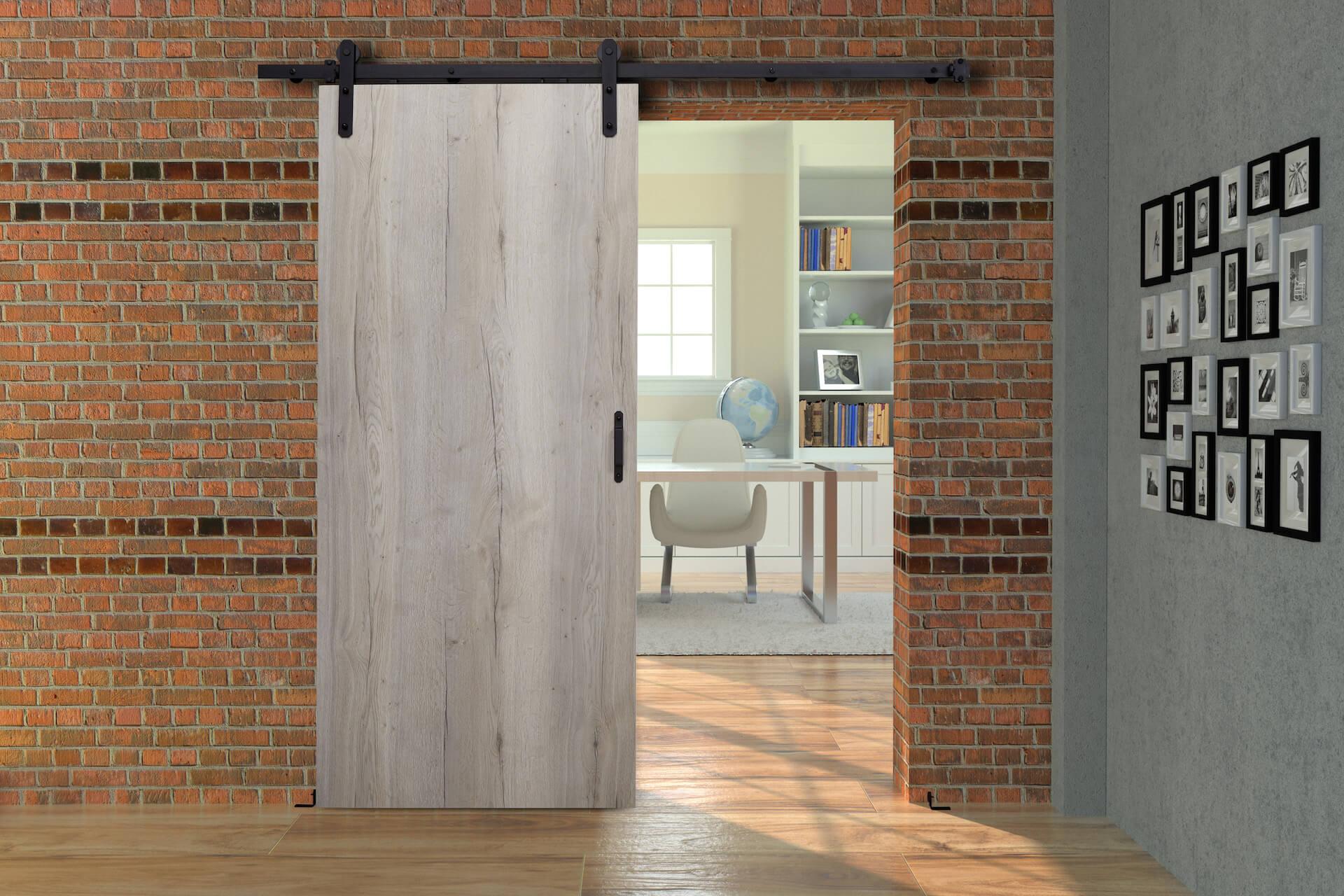 HS-Loft | Rahmenloser Holzschiebetür-Beschlag im Loft-Design