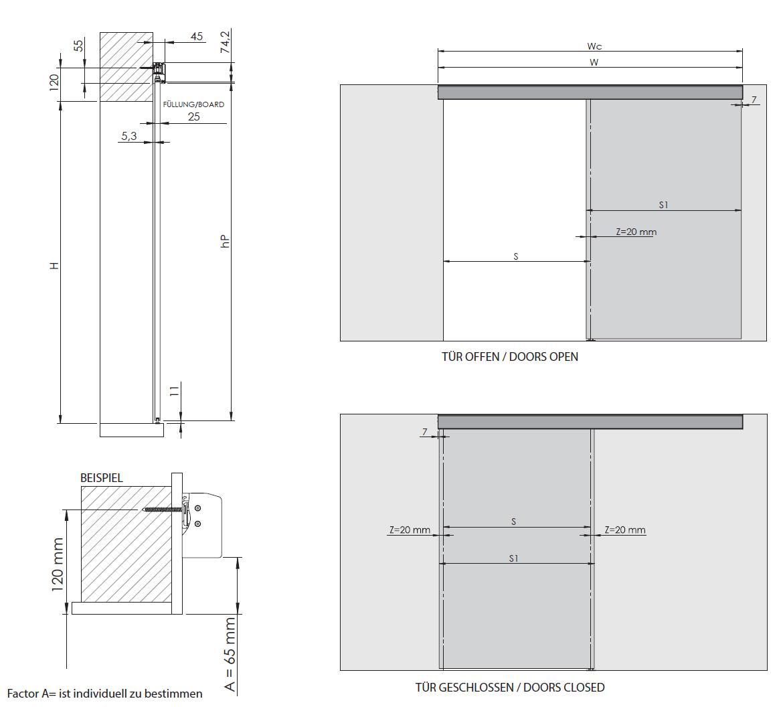 Montageskizze für HS-Komfort | Schiebetür-Bausatz Hängesystem für Durchgangs-Türen