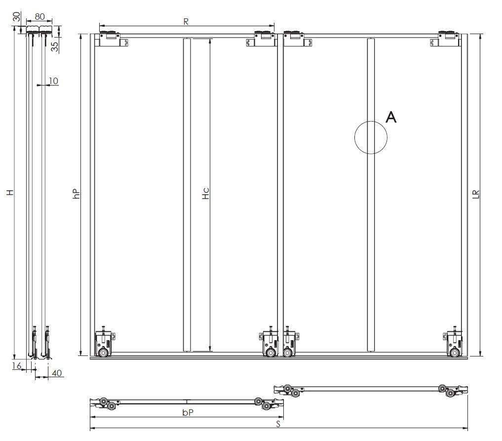 Montageskizze für BS-Komplett | Weiße Holzschiebetüren mit veredelten Stahlprofilen