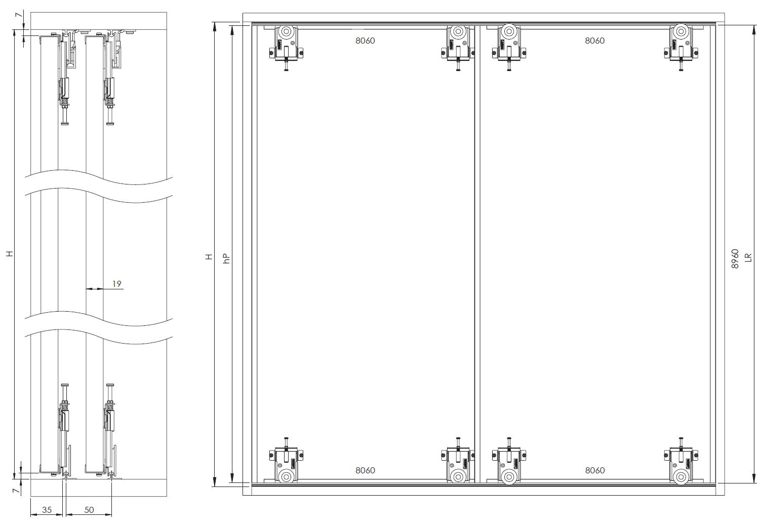 Montageskizze für MSB-Komfort mit Rahmentyp D | Aluminium-Schiebetür-Bausatz Bodensystem für Möbeltüren im Korpus