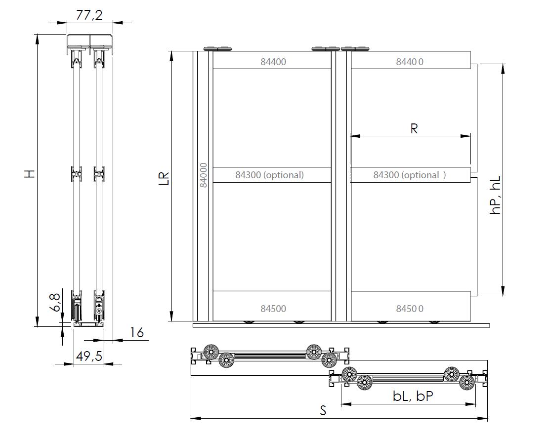 Montageskizze für BS-Komfort mit Rahmentyp A weiß|Alu-Schiebetür-Bausatz Bodensystem für Schranktüren/Raumteiler