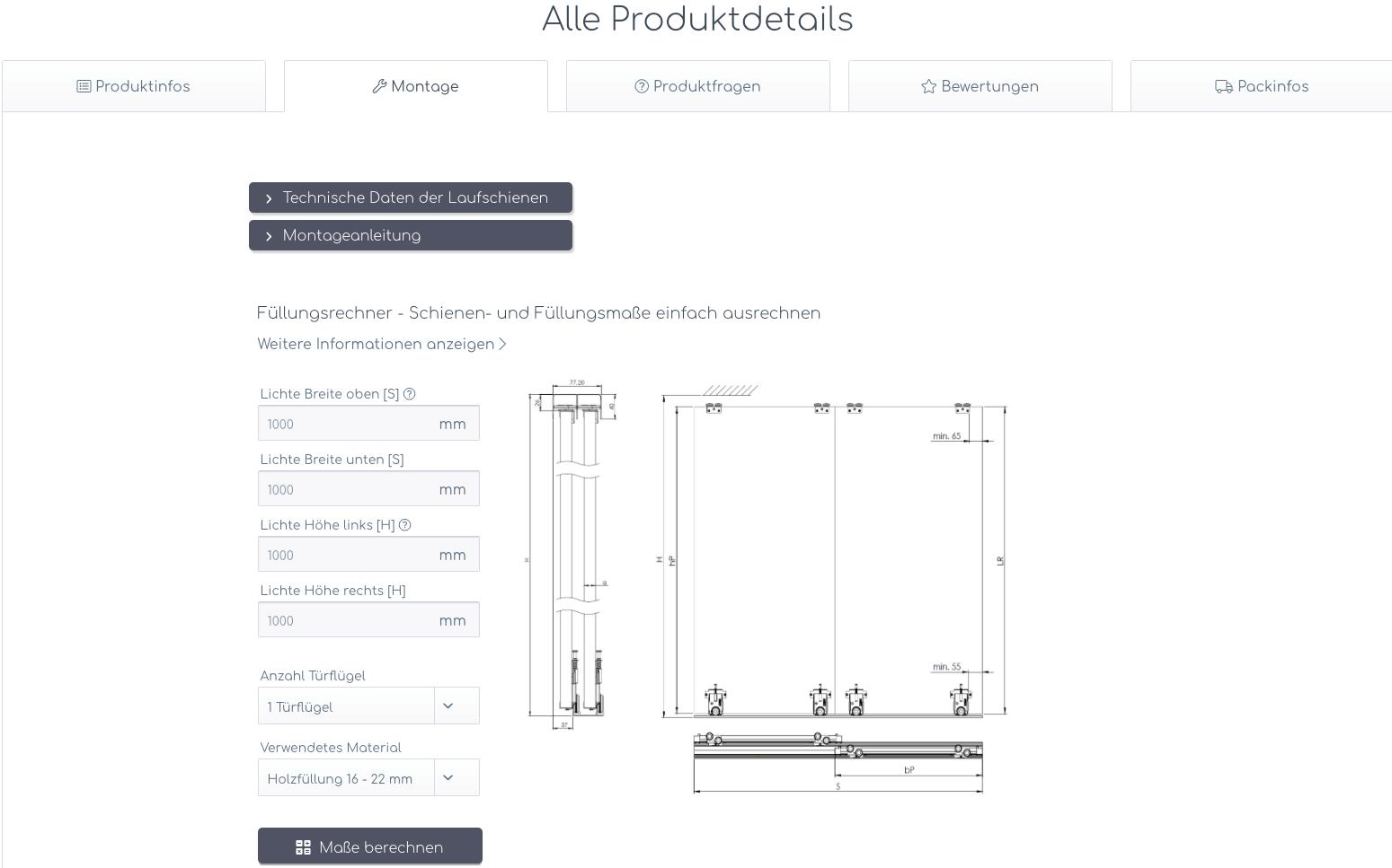 hibitaro-Fullungsrechner für Holzschiebetür Zuschnitt