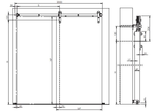 Montageskizze für HS-Loft | Rahmenloser Holzschiebetür-Beschlag im Loft-Design