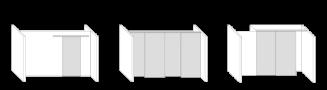 Illustrative Darstellung der 3 Anwendungsfälle: Durchgänge, Raumtrenner und Schränke