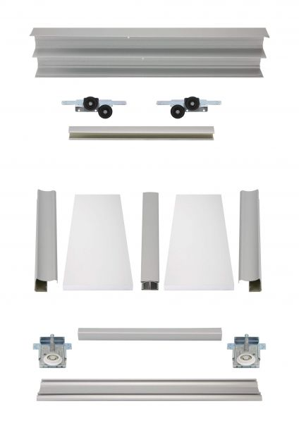 BS-Komplett | Weiße Holzschiebetüren mit veredelten Stahlprofilen