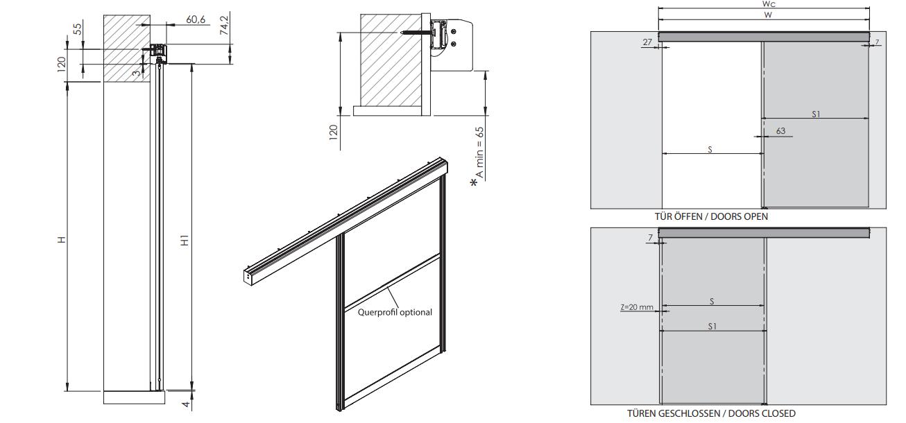 Montageskizze für HS-Komfort mit Rahmentyp A | Aluminium-Schiebetür-Bausatz Hängesystem
