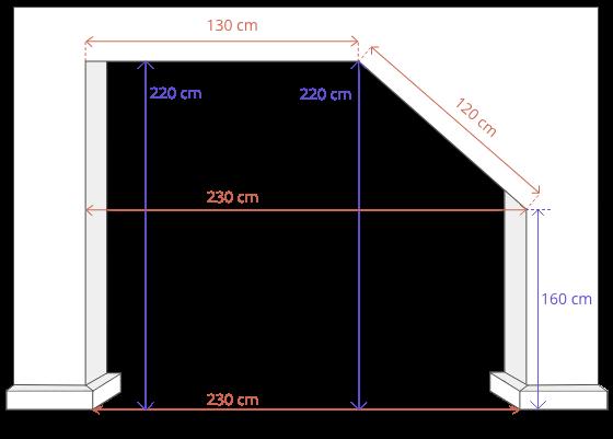 Aufmaß Beispiel für eine Schrägschiebetür Schiebetür unter Dachschräge